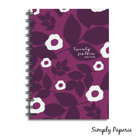 Purple,Winter,Floral,Weekly,Planner,Weekly Planner, Calendar, month, monthly, academic, year, school, planner, 2016, floral, pattern, hand drawn, flower, print, surface pattern design, trendy, purple, modern, The Artisan Group