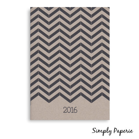 Black,and,Kraft,Herringbone,Monthly,Planner,Weekly Planner, Calendar, month, monthly, academic, year, school, planner, saddle stitch, 2016, kraft, herringbone, black, chevron, trendy, modern, The Artisan Group, 5x7, a7