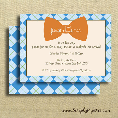 Little,Man,Party,Invitations,Birthday Party Invitation, Weddings, Invitation, bow tie, baby, baby shower, shower invitation, party invitation, little man, boy, argyle, blue, orange, green, flat card, pattern, classy, modern