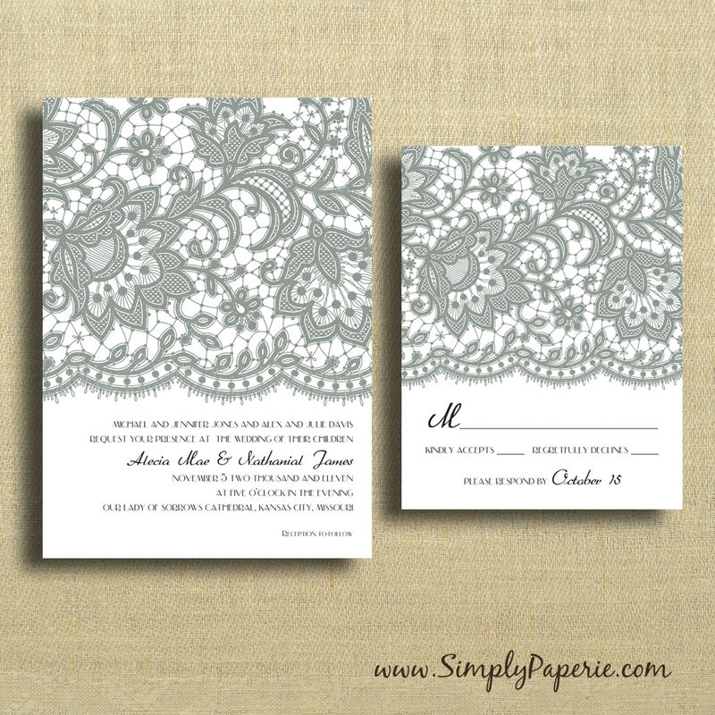 Vintage Lace Wedding Invitations - Simply Paperie
