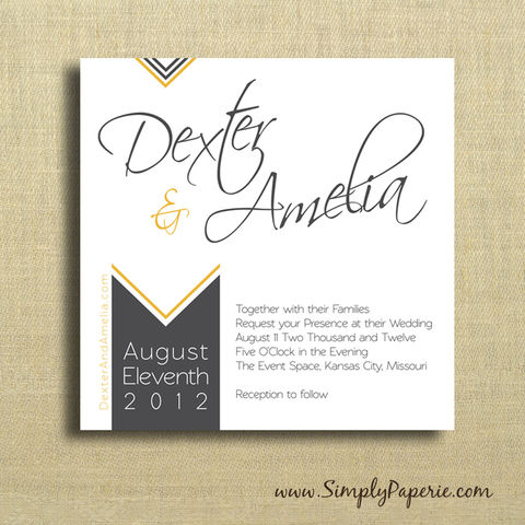 Chevron,Wedding,Invitations,Wedding Invitation, rsvp, chevron, modern, gold, mustard yellow, black, custom, personalized, grey