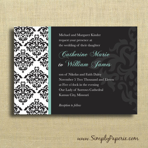 Damask,Wedding,Invitations,Weddings, Invitation, Card, rsvp, script, wedding invitation, wedding stationery, elegant, damask, black, teal, custom, personalized, classic, classy, The Artisan Group