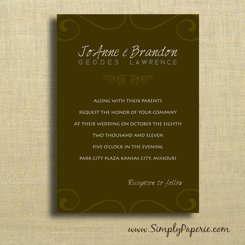 Espresso,Swirls,Wedding,Invitations, Invitation, rsvp, script, wedding invitation, wedding stationery, modern, brown, tan, neutral, espresso, ecru, scroll, dark