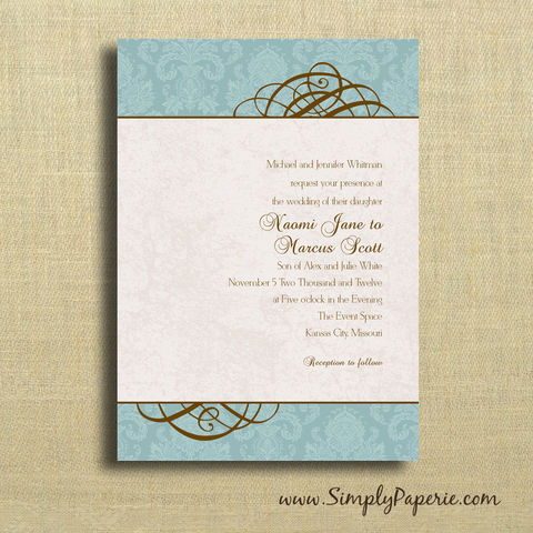 Teal,Swirl,Wedding,Invitations,Wedding Invitation, rsvp, damask, swirl, elegant, formal, teal, brown, tan, custom, personalized, aqua, turquoise, announcement