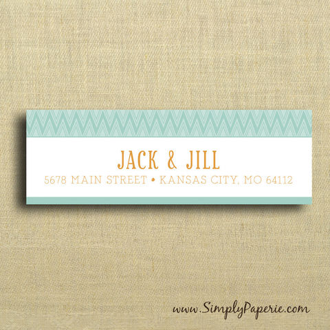 Teal,and,Tangerine,Return,Address,Labels,Address Label, Return address sticker, label, Sticker, address, teal, orange, tangerine, chevron, personalization, pattern, bold