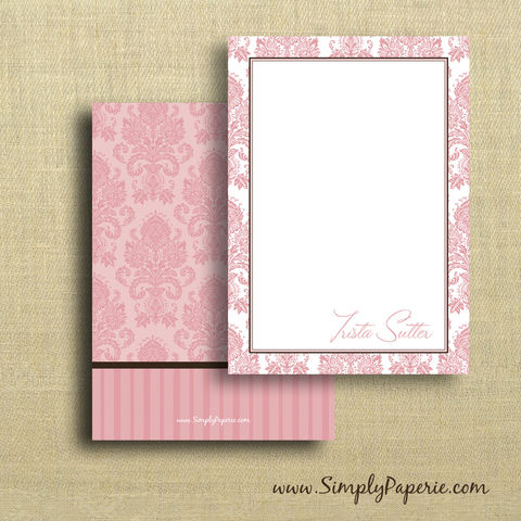 Pink,Damask,Personalized,Notecards,Trista Sutter, The Bachelorette, pink, personalized, damask, chocolate brown, girl, femenine, woman, female, stripes, notecard, flat card, 5x7, a7