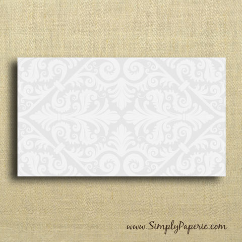 Mini,Card,-,Silver,Damask,Paper Goods, Cards, Blank, notecard, gift card, blank, holiday card set, christmas, The Artisan Group, mini card, small, silver, damask, grey, elegant, wedding, note card