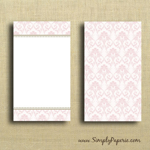 Pink,Damask,Mini,Card,Valentine, pink, damask, gold, elegant, wedding, wedding card, sweet, femenine, greeting card, Paper Goods, Cards, Blank, notecard, gift card, blank, The Artisan Group, mini card, small, note card, envelope