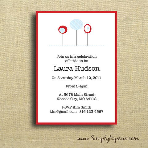 Red,and,Blue,Flowers,Invitations,Paper Goods, Cards, Invitation, bright, cheerful, party, custom, bride, wedding, shower, baby, red, blue, flower, floral, The Artisan Group