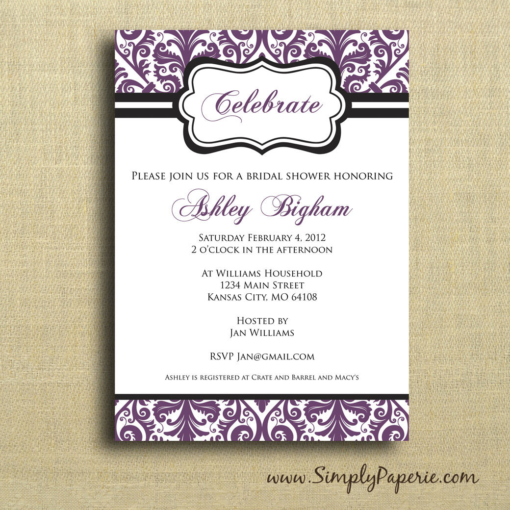 Damask Shower Invitation - Simply Paperie