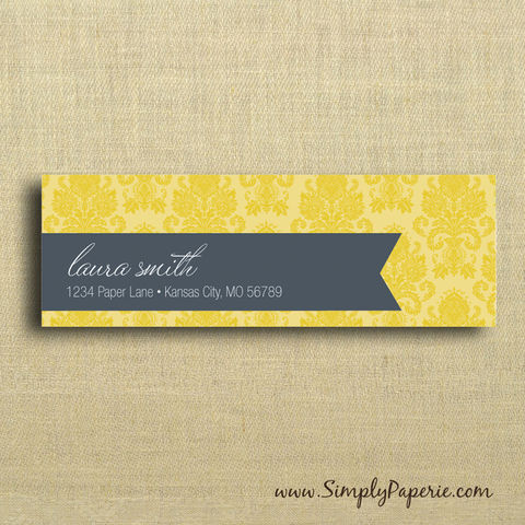 Gold,Damask,Return,Address,Labels,Address Label, Return address sticker, label, Sticker, address, grey, yellow, gold, slate, damask, wedding, elegant