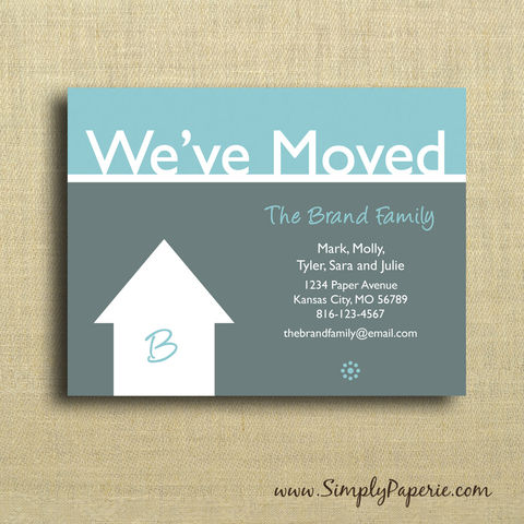 We've,Moved,Cards,we've moved, moving announcement, address update, card, notecard, family, location, house, monogram, initial, grey, teal, aqua, custom, white, modern