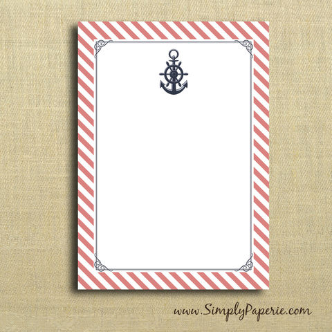 Anchors,Away!,Notecards,anchor, nautical, navy blue, coral, peach, pink, paper goods, personalized, diagonal, delta gamma, DG, sorority, Greek, stripe, notecard, flat card, 5x7, a7