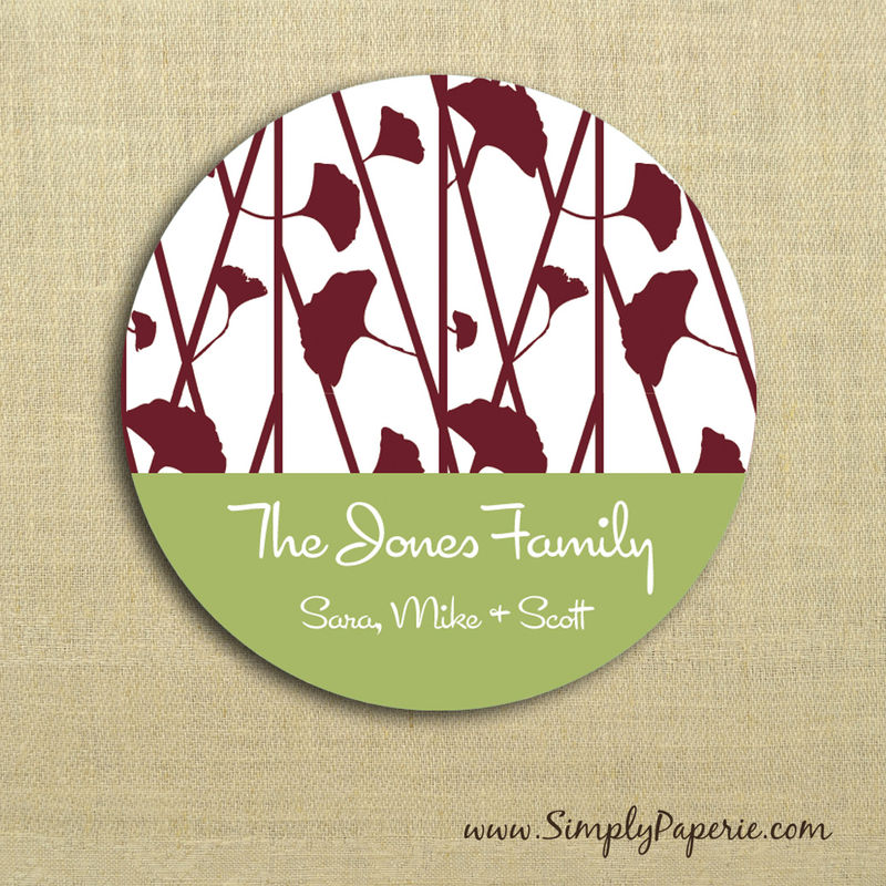 Red and Green Floral Gift Tag Stickers - product images  of
