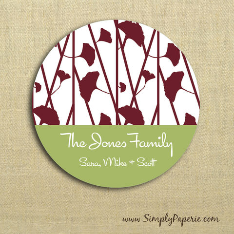 Red,and,Green,Floral,Gift,Tag,Stickers,Gift Tag, label, Sticker, to, from, red, green, holiday, floral, flower, custom, monogram,family, name, olive, crimson, alpha chi omega, 2 sticker, round, circle