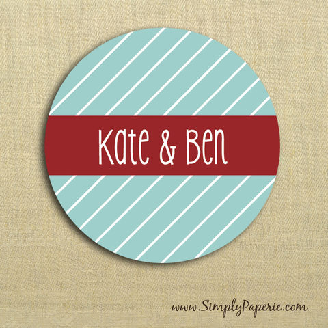 Diagonal,Stripes,Gift,Tag,Stickers,Gift Tag, label, Sticker, to, from, aqua, blue, teal, holiday, white, red, scarlet, crimson, stripe, diagonal, custom, monogram,family, name, mail, envelope closure, 2 sticker, round, circle