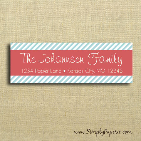 Modern,Striped,Return,Address,Labels,Address Label, Return address sticker, label, Sticker, address, teal, aqua, pink, coral, red, holiday, diagonal, stripe, banner, personalization, pattern, bold, modern