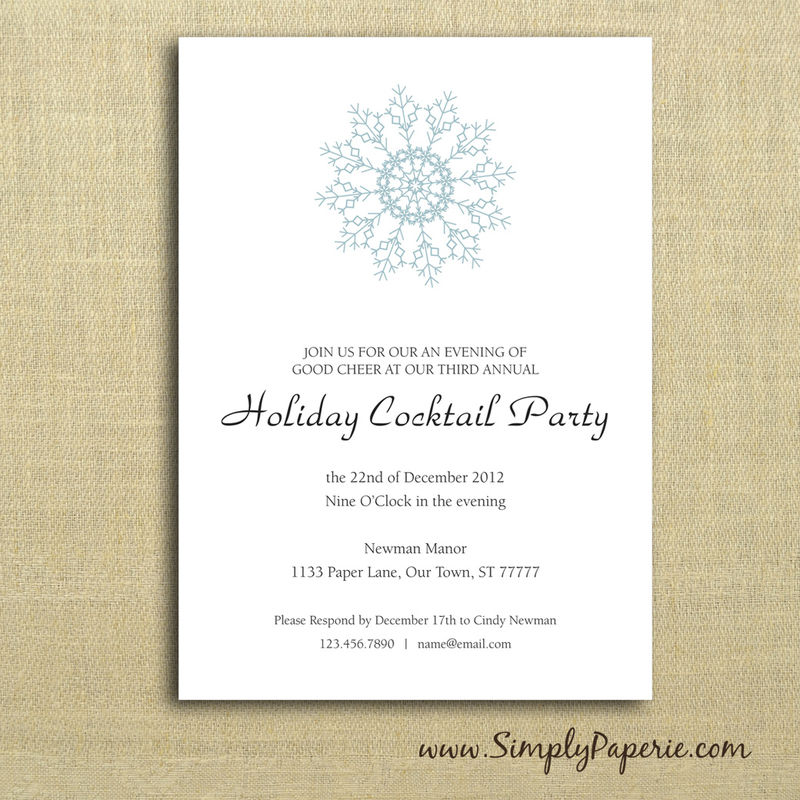 Snowflake Party Invitations Simply Paperie
