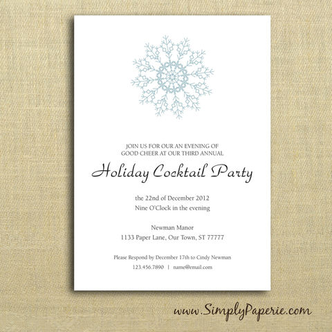 Snowflake,Party,Invitations,winter, holiday party, invitation, party, snowflake, grey, blue, aqua, teal, classic, cocktail party, modern, trendy, 5 x 7, elegant, style