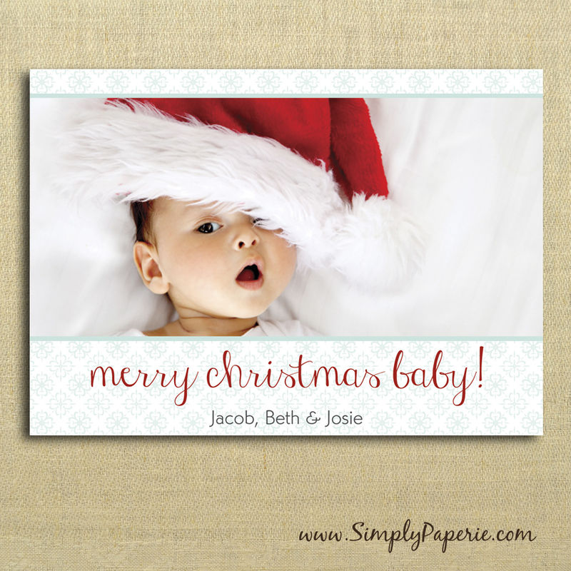 Merry Christmas Baby Photo Cards