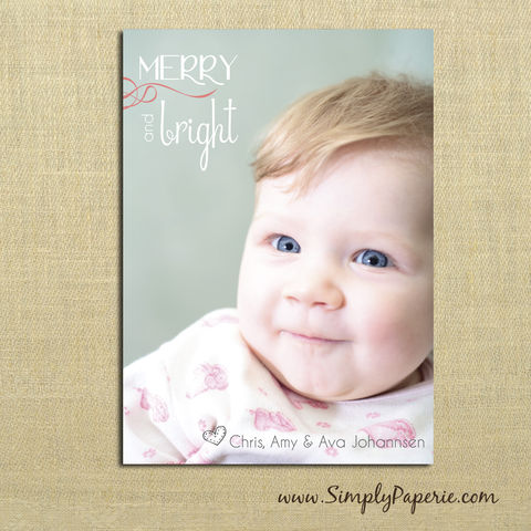Merry,and,Bright,Photo,Card,christmas, holiday, card, child, children, family, photo, sweet, merry and bright, swirl, baby, modern, trendy, 5 x 7