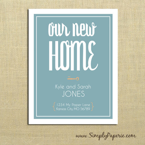 Our,New,Home,Moving,Announcements,moving announcement, address update, our new home, card, notecard, family, location, house, skeleton key, old key, orange, tangerine, teal, aqua, custom, typography, modern