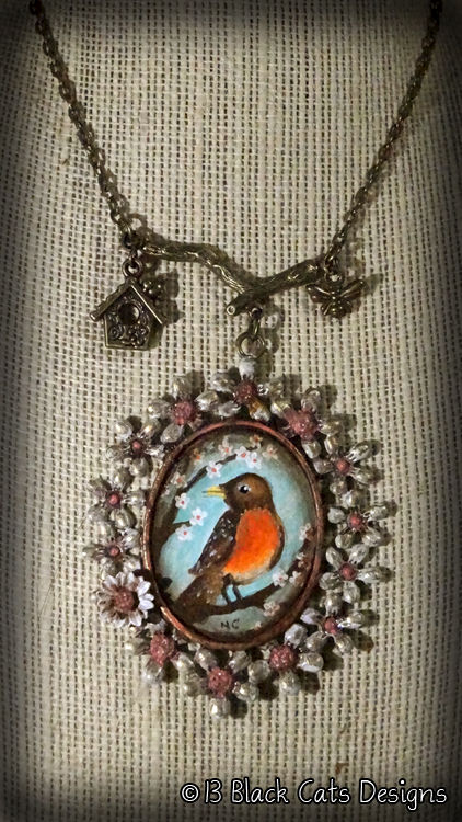 Robin Red Breast Hand Painted Pendant Necklace - product images  of
