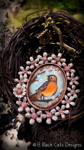 Robin,Red,Breast,Hand,Painted,Pendant,Necklace, Robin Red Breast, bird, spring, hand painted, canvas, wearable canvas, wearable art, miniature painting, painting, antique
