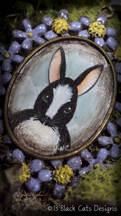 Folk Art Black And White Bunny Rabbit Hand Painted Pendant Necklace - product images  of