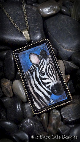 Zebra,Hand,Painted,Pendant,Necklace,Black, White, zebra, hand painted, canvas, wearable canvas, wearable art, miniature painting, painting, antique