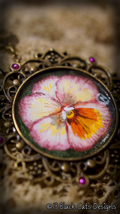 Pansy Hand Painted Pendant Necklace - product images  of