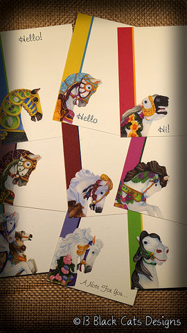 Carousel,Horse,Flat,Note,Card,Set,-,Assorted,Of,9,carousel horse, horse, painted pony, amusement, merry go round