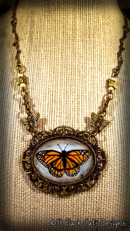 Orange Monarch Butterfly Hand Painted Pendant Necklace - product images  of