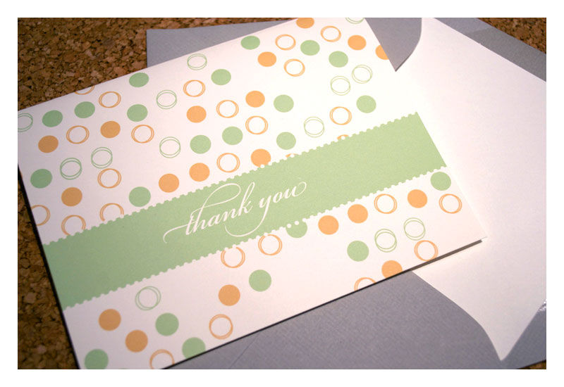 Designer Pattern Thank You Note Set : Green - product images  of