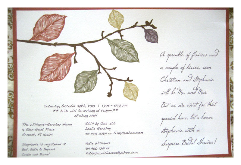 Bridal Shower Invitations : Fall Leaves in Earth Tones - product images  of