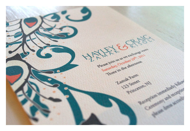 Damask and Peacock Wedding Invitation - product images  of