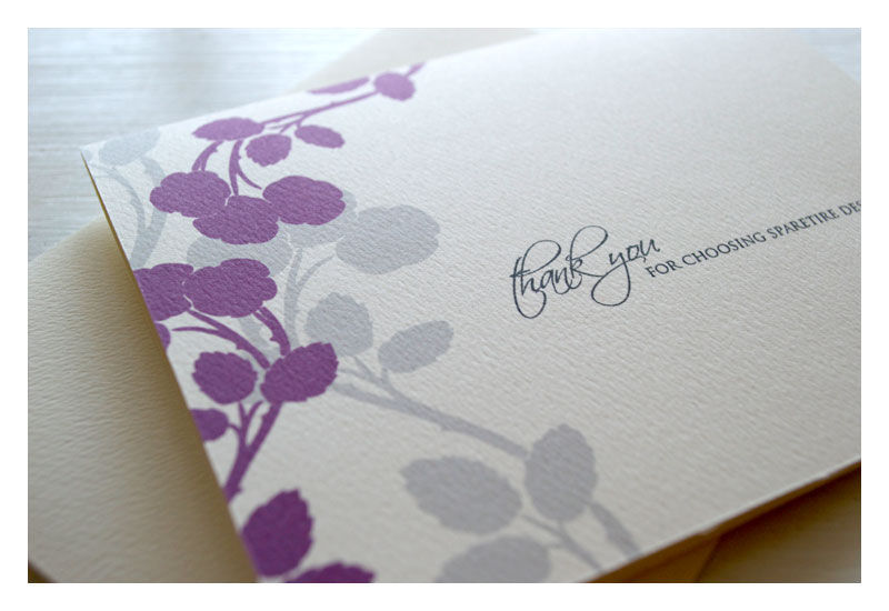 Stationery Note Card Set Apple Blossom Design : Personalized Purple - product images  of
