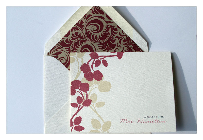 Stationery Note Card Set Apple Blossom Design : Personalized Red - product images  of
