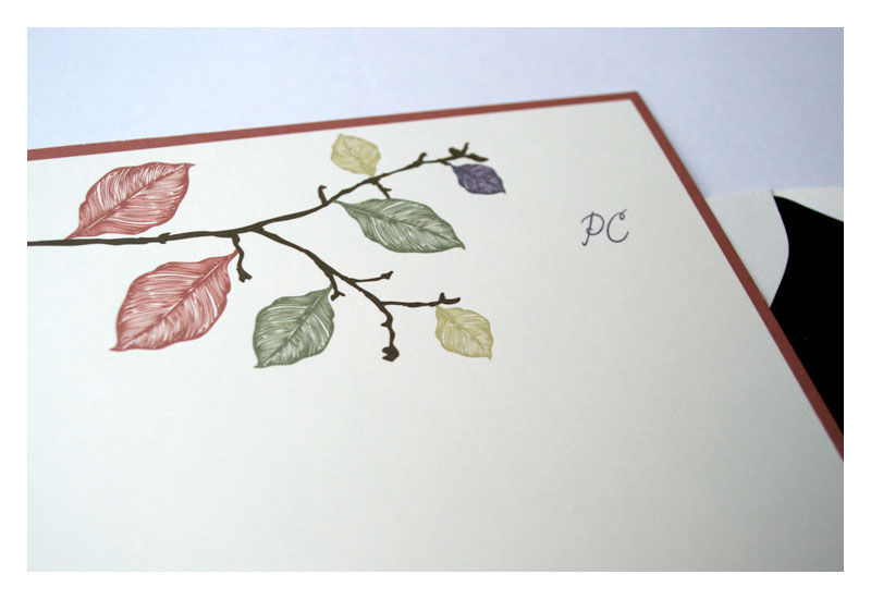 Fall Leaves Design Personalized Stationery Half Sheet Note Card - product images  of