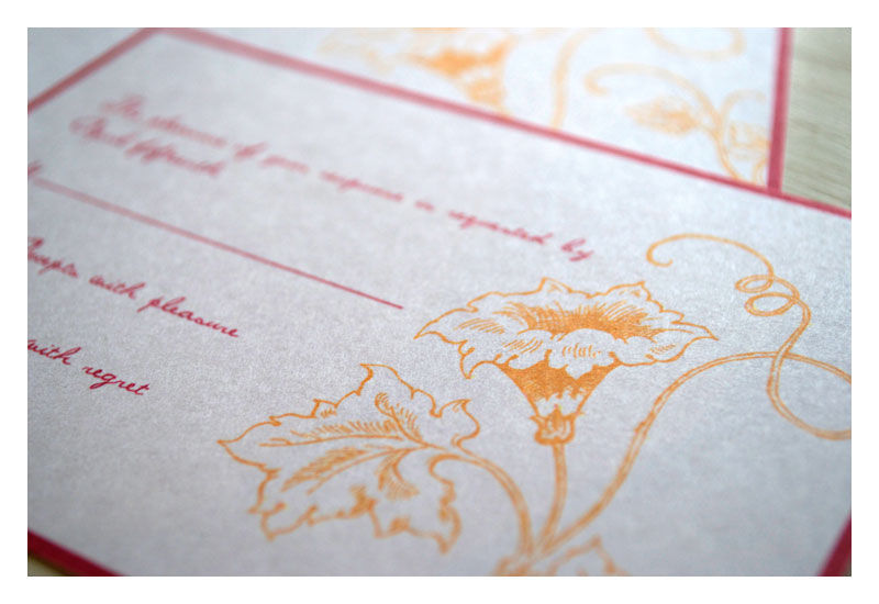 Trupet Vine Botanical Drawing Wedding Invitations - product images  of