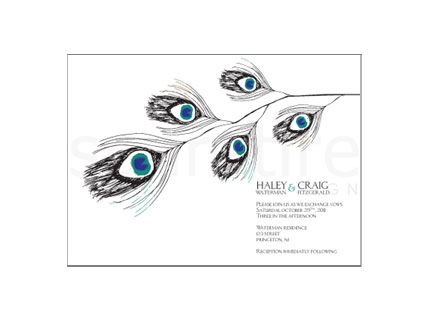 Peacock,Feather,and,Eye,Stationery,Design,hand drawn, peacock, peacock feathers, feathers, fun, note cards, flat notes, half sheet stationery, invitations, party invites, shower invites, save the dates, thank you notes, wedding invites, wedding invitations, wedding day stationery