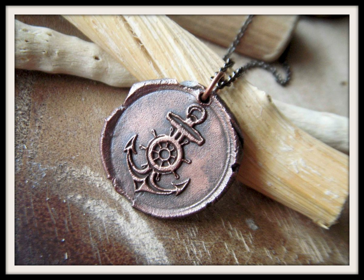 Large Anchor Wax Seal Charm Necklace Pure Copper - product image