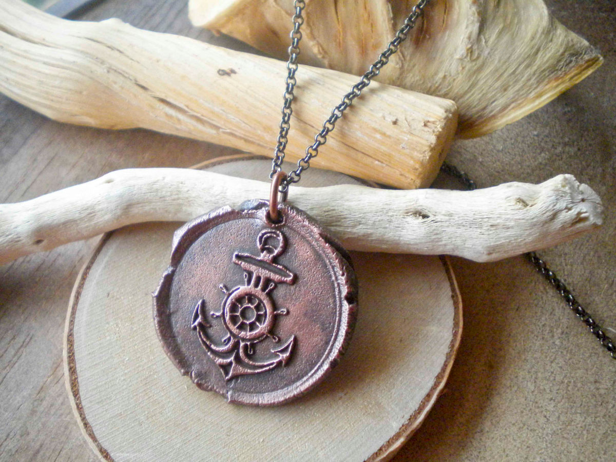 Large Anchor Wax Seal Charm Necklace Pure Copper - product images  of