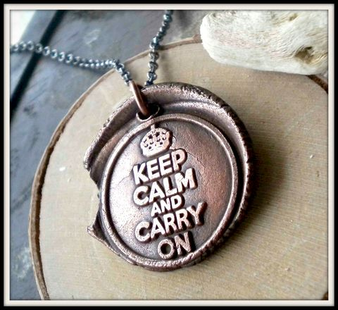 Keep,Calm,and,Carry,On,Wax,Seal,Copper,Charm,Necklace,keep calm, carry on, keep calm and carry on, charm necklace, copper