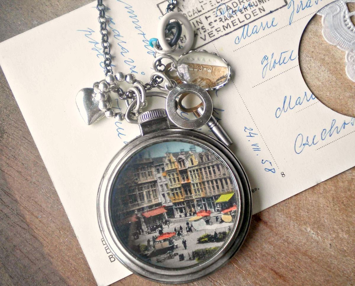 Vintage Postcard Pocket Watch Style Pendant Necklace - City Center - product images  of
