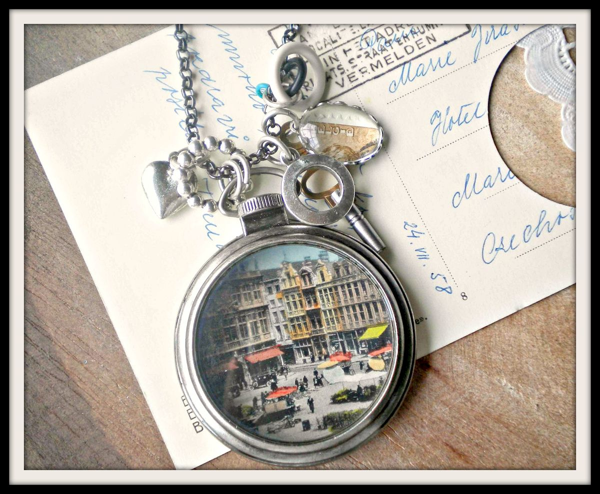 Vintage Postcard Pocket Watch Style Pendant Necklace - City Center - product image