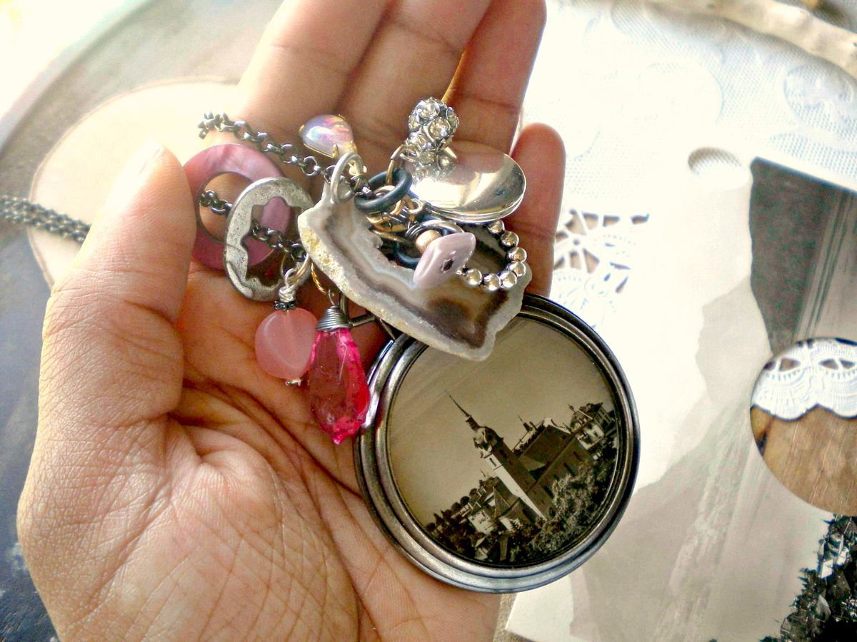 Vintage Postcard Pocket Watch Style Necklace - In the Clouds - product images  of