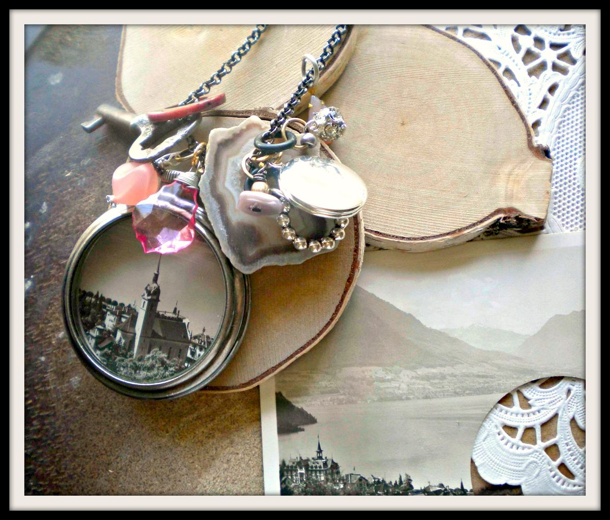 Vintage Postcard Pocket Watch Style Necklace - In the Clouds - product image
