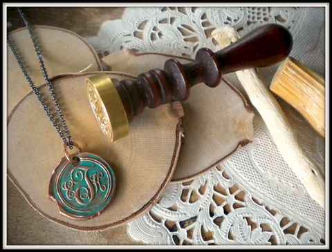 Reserved,for,ME,-,Copper,Wax,Seal,Monogram,Charm,Necklace.,wax seal, monogram, jewelry, initial jewelry