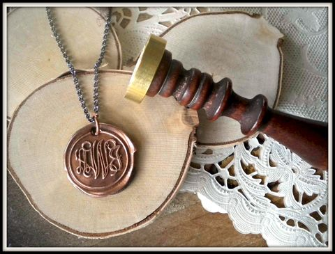 Reserved,for,C.M.,-,Copper,Wax,Seal,Monogram,Charm,Necklace.,You,Keep,the,Stamp.,wax seal, monogram, jewelry, initial jewelry